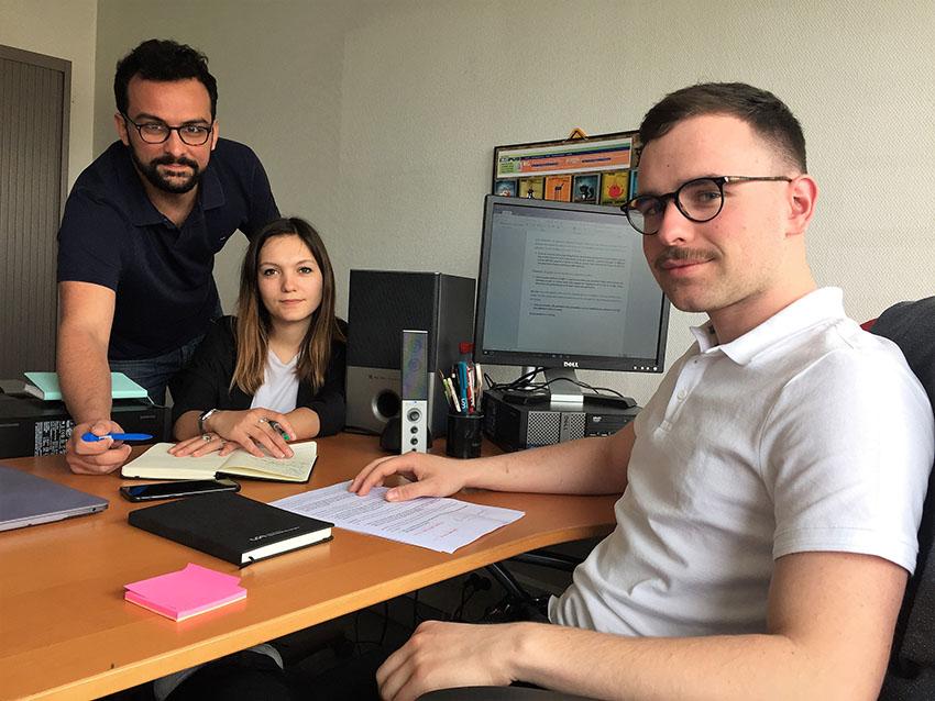 De gauche à droite : Maxime Berger, Juliette Fauguet et Aymeric Miouze